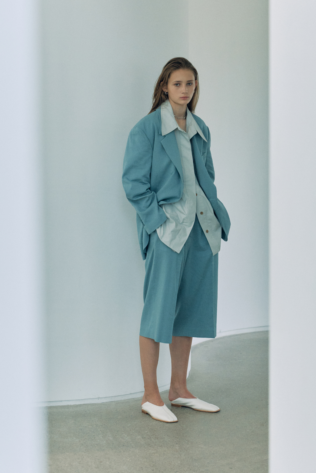 20SS LINEN JACKET - BLUE GREEN