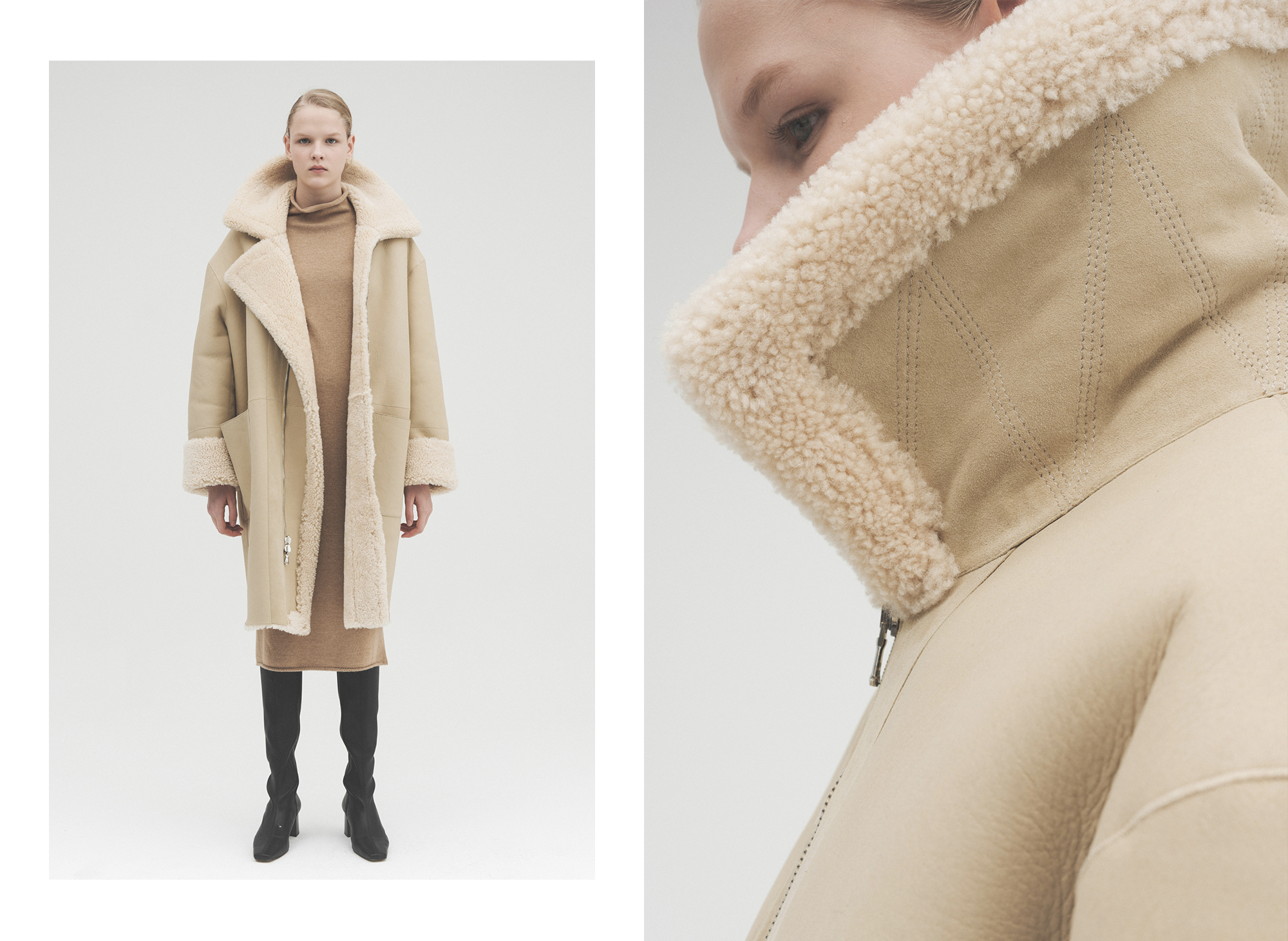 SOFT High-neck Shearling Coat